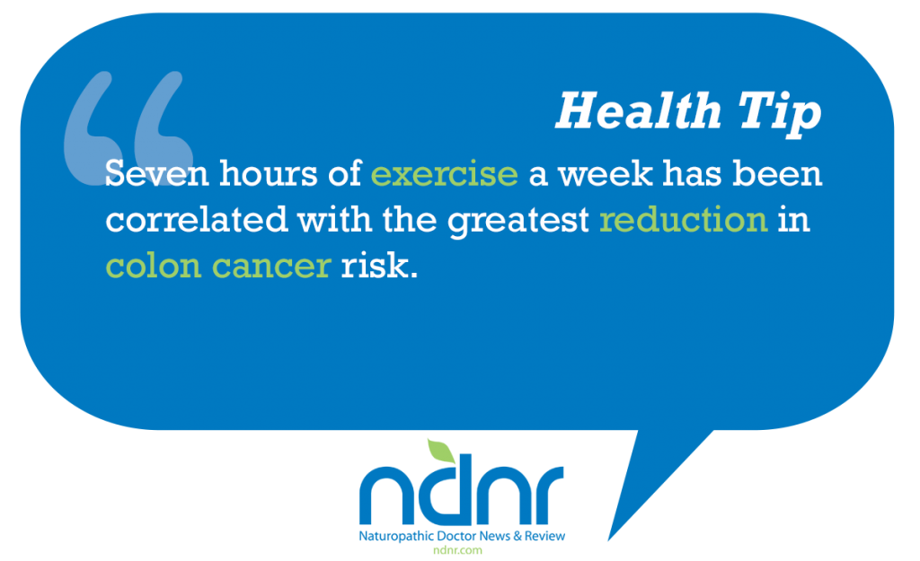 Seven hours of exercise a week has been correlated with the greatest reduction in colon cancer risk