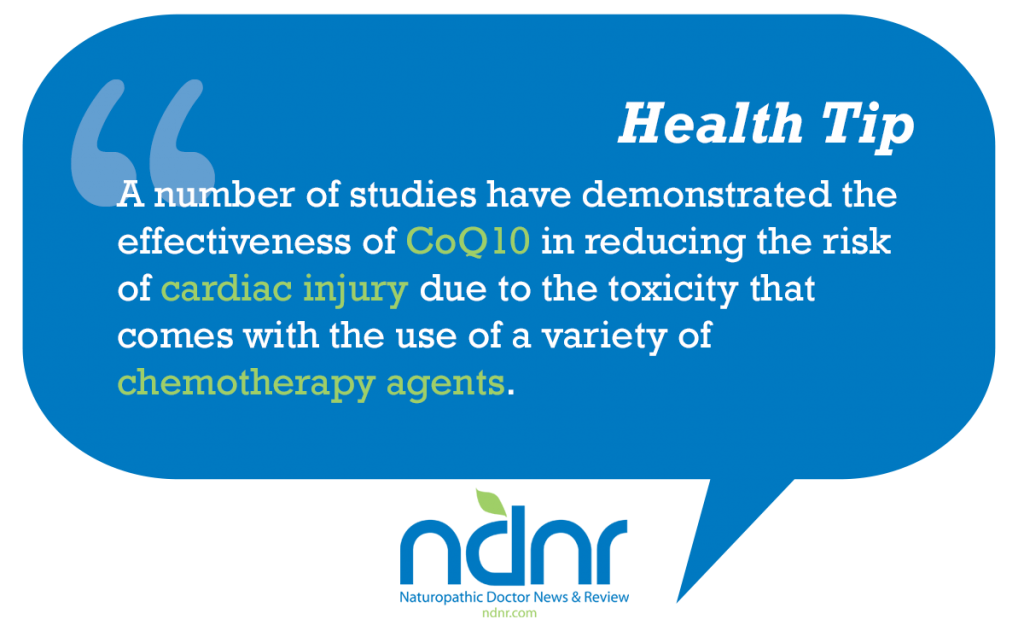 A number of studies have demonstrated the effectiveness of CoQ10 in reducing the risk of cardiac injury due to the toxicity that comes with the use of a variety of chemotherapy agents