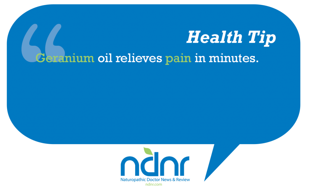 Geranium oil relieves pain in minutes