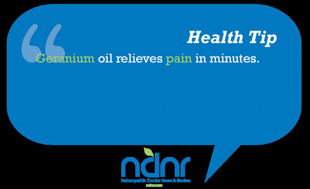 Geranium oil relieves pain in minutes