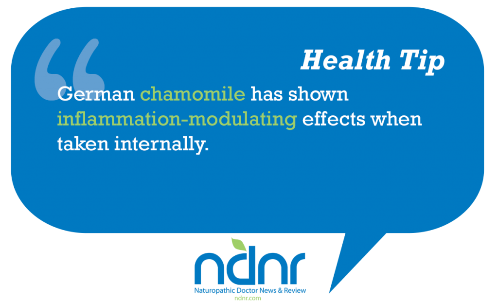 German chamomile has shown inflammation modulating effects when taken internally