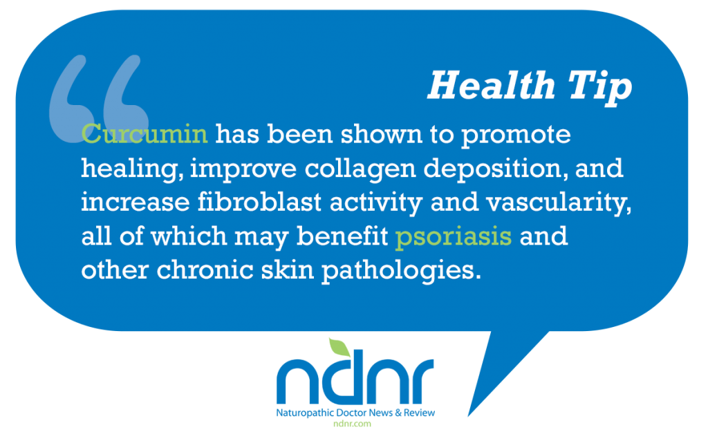 Curcumin has been shown to promote healing improve collagen deposition and increase fibroblast activity and vascularity all of which may benefit psoriasis and other chronic skin pathologies