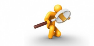 Vector image of yellow man with a magnifying glass