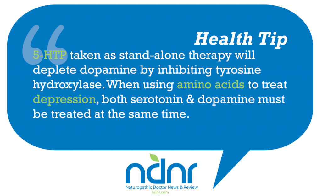 5HTP taken as stand alone therapy will deplete dopamine by inhibiting tyrosine hydroxylase When using amino acids to treat depression both serotonin & dopamine must be treated at the same time