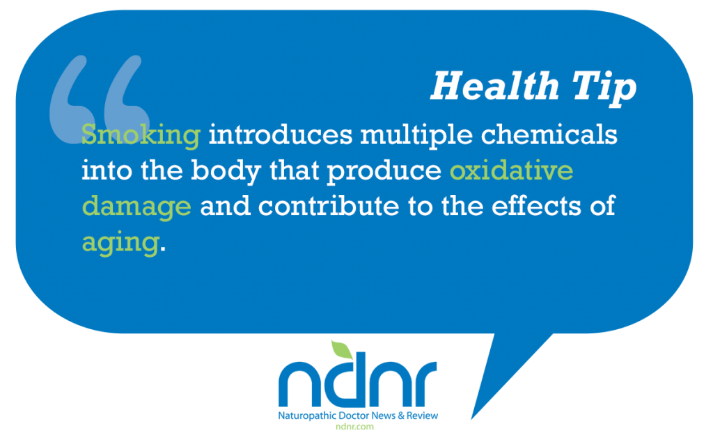 Smoking introduces multiple chemicals into the body that produce oxidative damage and contribute to the effects of aging