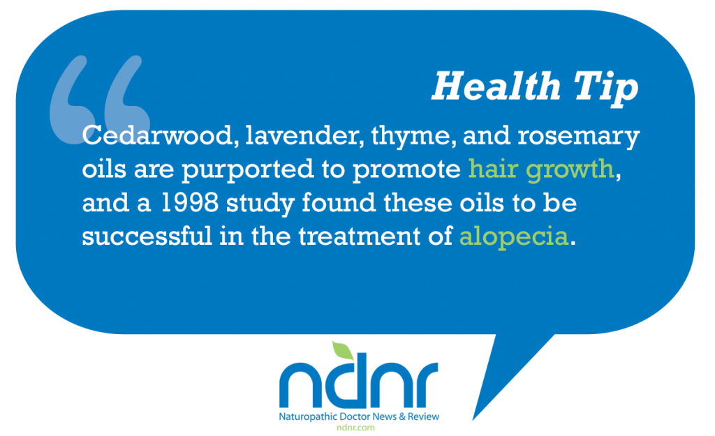 Cedarwood lavender thyme and rosemary oils are purported to promote hair growth and a1998 study found these oils to be successful in the treatment of alopecia