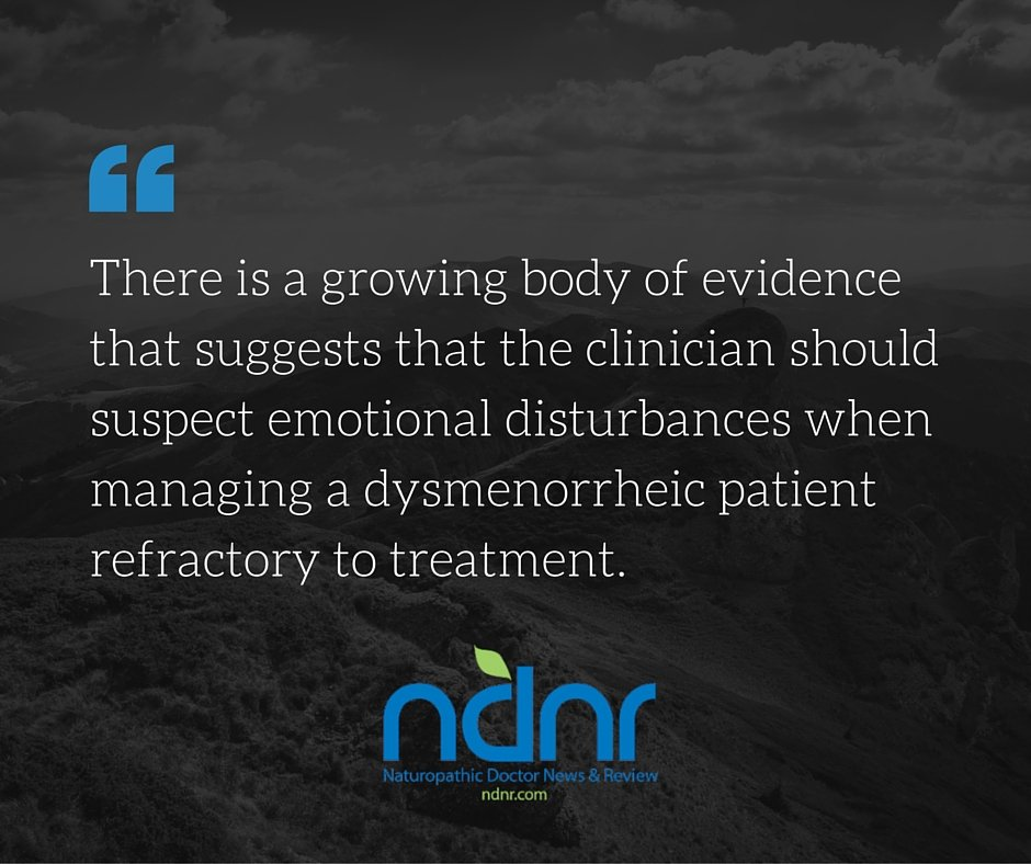 There is a growing body of evidence that suggests that the clinician should suspect emotional disturbances when managing a dysmenorrheic patient refractory to treatment.