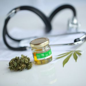 95042463 - cannabis, cbd oil ,stethoscope and recipe