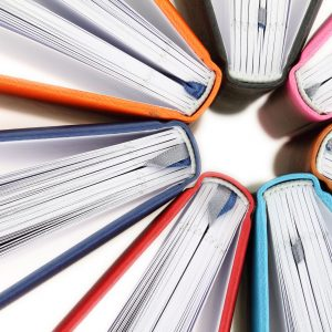20353363 - top view of colorful books in a circle on white background