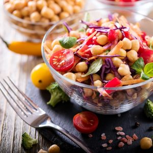 68838065 - healthy homemade chickpea and veggies salad, diet, vegetarian, vegan food, vitamin snack